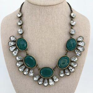 J. Crew Statement Necklace Teal Green and Crystal